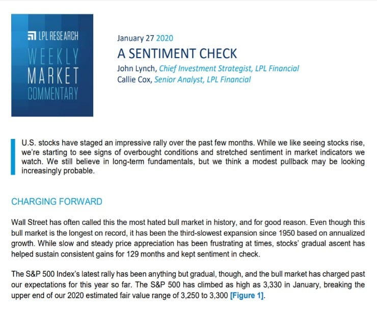 A Sentiment Check   Weekly Market Commentary   January 27, 2020